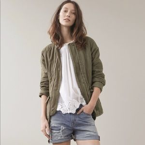 Madewell Green Quilted Drawstring Jacket